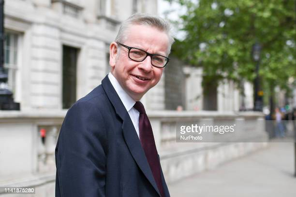 Environment Secretary Michael Gove leaves Cabinet Office after attending the weekly Cabinet meeting at 10 Downing Street London on May 7 2019 British...