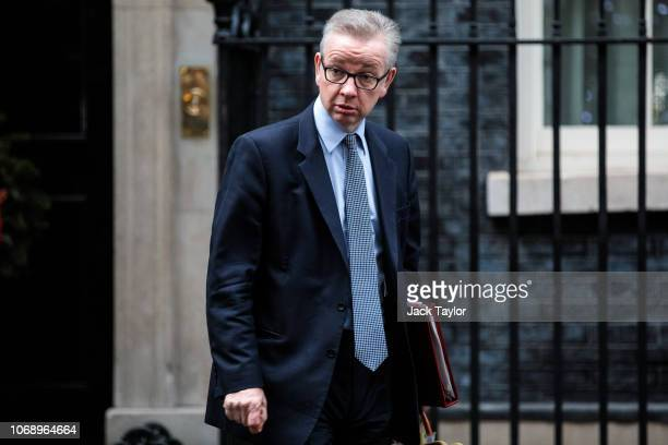 Environment Secretary Michael Gove leaves Number 10 Downing Street following a meeting of cabinet ministers on December 06 2018 in London England