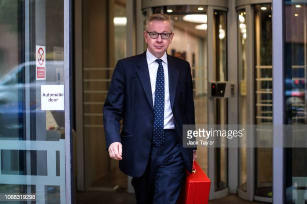 Environment Secretary Michael Gove leaves the Department for Environment Food and Rural Affairs to make a press statement on November 16 2018 in...