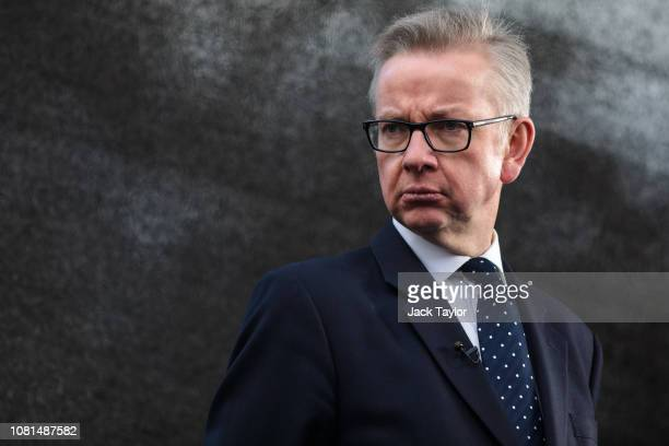 Environment Secretary Michael Gove talks to the media in Westminster on December 12 2018 in London England Sir Graham Brady the chairman of the 1922...