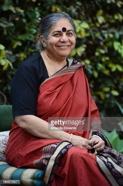 Environmental activist and antiglobalization author Vandana Shiva speaks at the ReclaimRealFood Food Seminar and Workshop at AXE on March 24 2013 in...