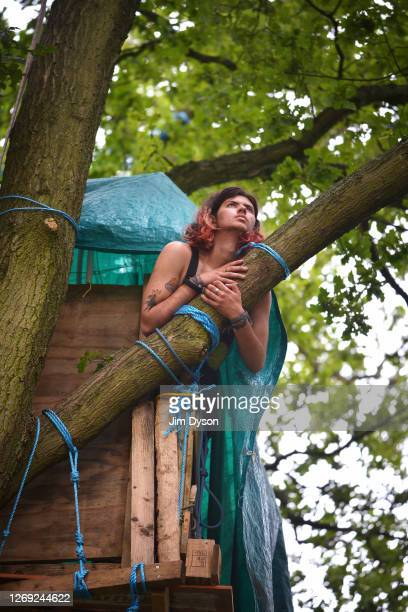 Environmental activist Goldilocks poses for a portrait in his tree house in Jones Hill Wood at a protest camp against the HS2 High Speed Rail line...