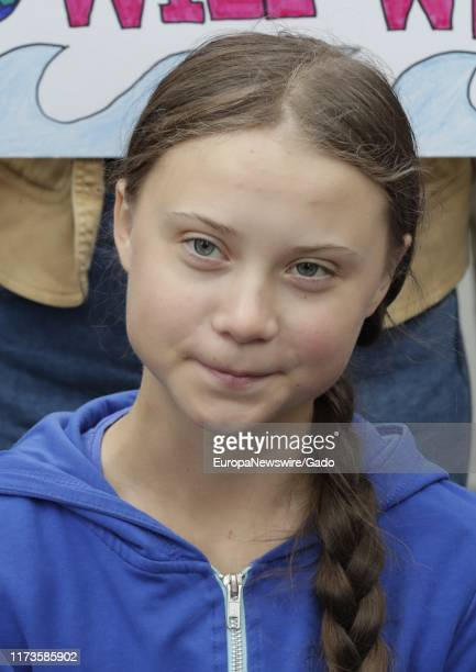 Environmental activist Greta Thunberg demanding Climate Polices during a protest at the UN Headquarters in New York City New York September 6 2019