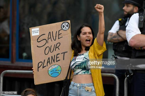 Environmental activist seen holding a placard outside the Brazilian embassy in London Extinction Rebellion environmental activists gathered outside...