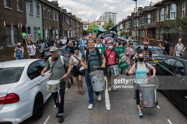 Environmental activists and local residents protest against the construction of the Silvertown Tunnel on 5th June 2021 in London, United Kingdom....