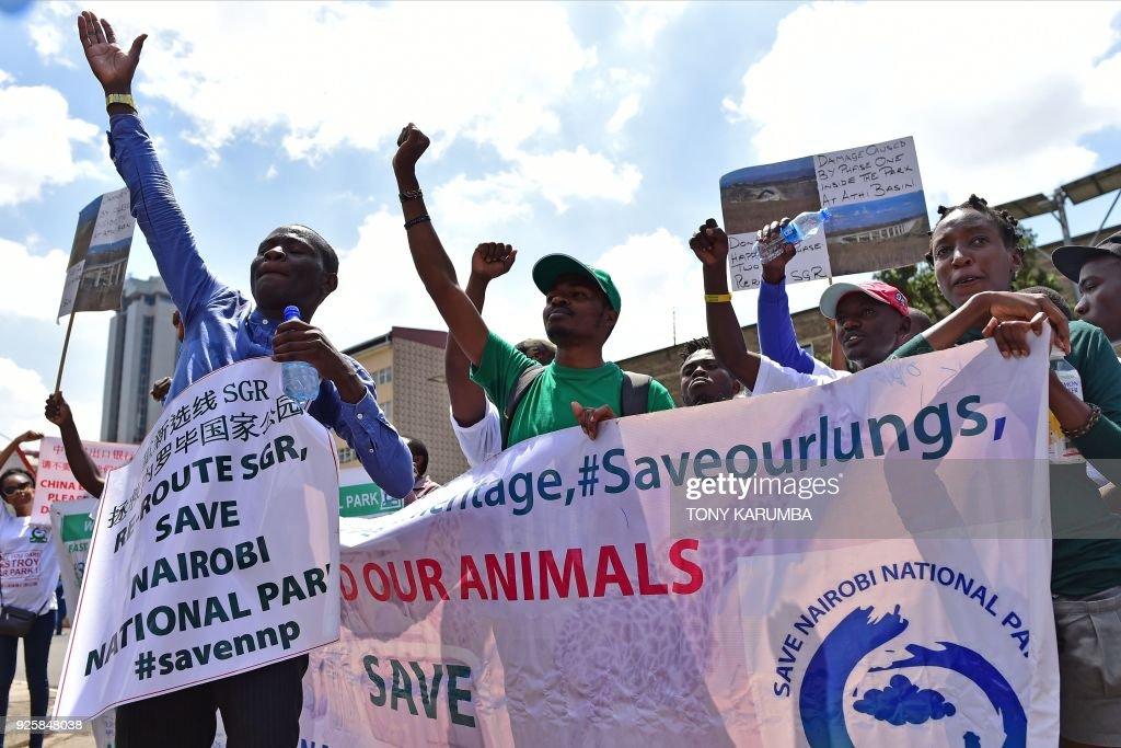 KENYA-ENVIRONMENT-RAILWAY-PROTEST : News Photo