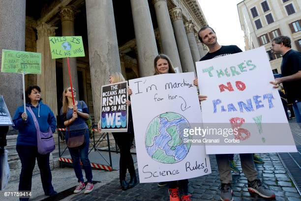 Environmental activists during the march for science in front of the Pantheon on April 22 2017 in Rome Italy In more than 500 cities around the world...