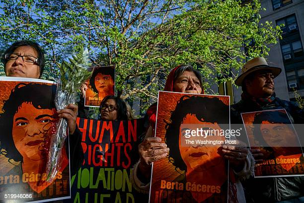 Environmental activists gather in front of the Office of American States OAS in honor of prominent indigenous activist Berta Caceres who was killed...