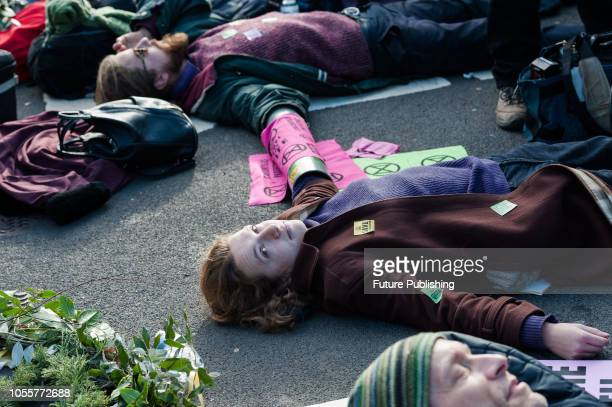 Environmental activists lay on the ground as they block the road next to the Houses of Parliament in London Hundreds of activists and campaigners...