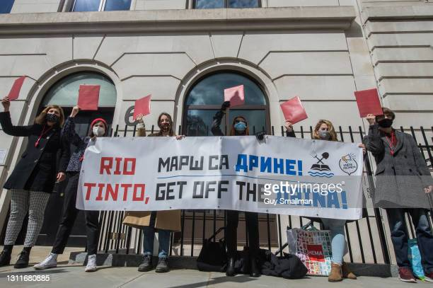Environmental activists protest at the offices of Rio Tinto over the over proposals for a mine in Serbia which they say will poison rivers and damage...