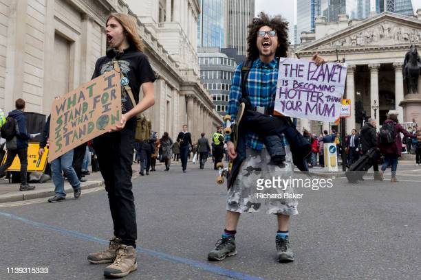 Environmental activists protest outside the Bak of England in the City of London on the 11th and final day of protests roadblockages and arrests...
