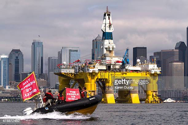 Environmental activists protest the arrival of the Polar Pioneer, an oil drilling rig owned by Shell Oil, on May 14, 2015 in Seattle, Washington. The...