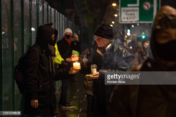 Environmental anti-HS2 activists attend a candlelit vigil at Euston Gardens on the 6th of February 2021, London, United Kingdom. Anti HS2 campaigners...