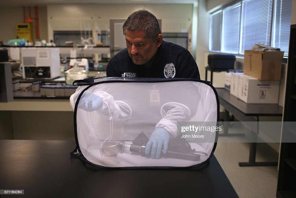 Environmental health specialist Aaron Salazar transfers mosquitos caught for testing on April 14, 2016 in McAllen, Texas. City workers are catching mosquitos and sending them to labs to test for Zika and other mosquito-borne diseases. Health departments, especially in areas along the Texas-Mexico border, are preparing for the expected arrival of the Zika Virus, carried by the aegypti mosquito, which is endemic to the region. The U.S. Centers for Disease Control (CDC), announced this week that Zika is the definitive cause of birth defects seen in Brazil and other countries affected by the outbreak.