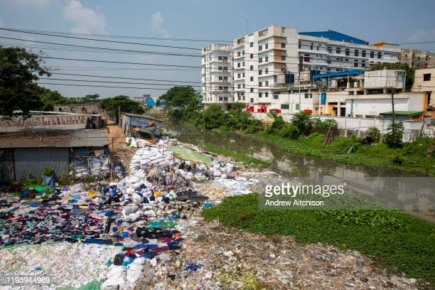 Environmental pollution on the river banks surrounding some of the textile industry buildings of Savar Upazila on 30th September 2018 in Dhaka...