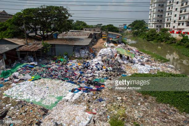 Environmental pollution on the river banks surrounding some of the textile industry buildings of Savar Upazila on 30th September 2018 in Dhaka,...