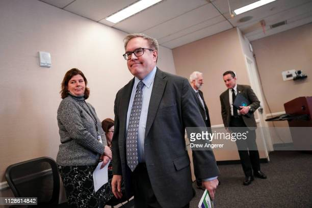 Environmental Protection Agency Administrator Andrew Wheeler exits after speaking at a press conference to discuss the agency's Superfund program at...