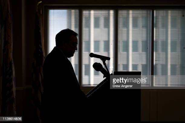 Environmental Protection Agency Administrator Andrew Wheeler pauses while speaking during a press conference to discuss the agency's Superfund...