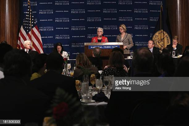 Environmental Protection Agency Administrator Gina McCarthy addresses a breakfast event at the National Press Club September 20 2013 in Washington DC...
