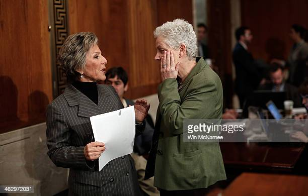 Environmental Protection Agency Administrator Gina McCarthy confers with Senate Environment Committee Chairman Sen Barbara Boxer before the start of...