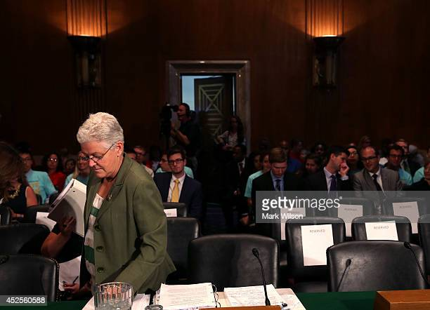 S Environmental Protection Agency Administrator Gina McCarthy prepares to testify before the Senate Environment and Public Works Committee on Capitol...