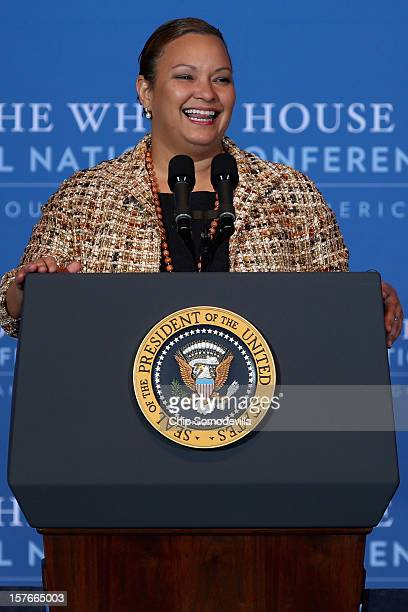 Environmental Protection Agency Administrator Lisa Jackson addresses the White House Tribal Nations Conference at the Department of Interior December...