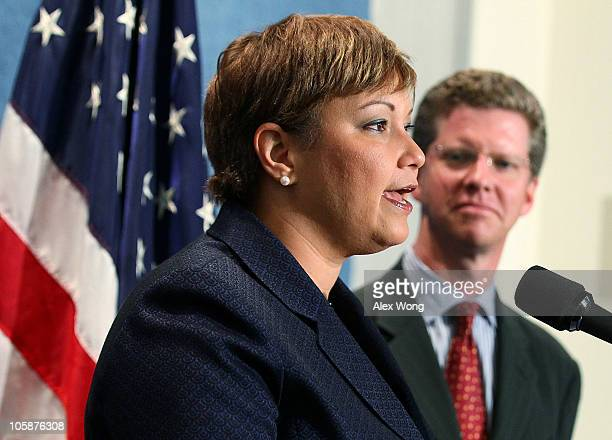 Environmental Protection Agency Administrator Lisa Jackson speaks as Housing and Urban Development Secretary Shaun Donovan listens during a news...
