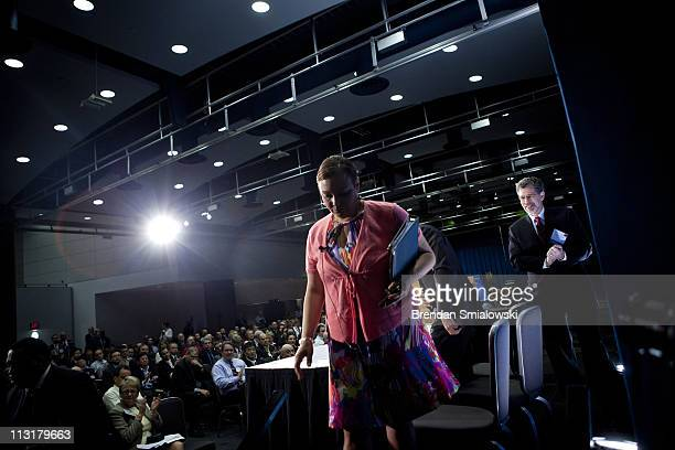 Environmental Protection Agency Administrator Lisa P Jackson leaves after speaking during a plenary session on the first day of the Energy...
