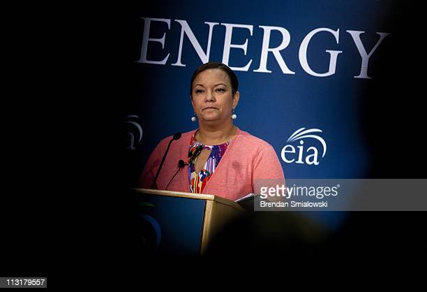 Environmental Protection Agency Administrator Lisa P Jackson speaks during a plenary session on the first day of the Energy Information...