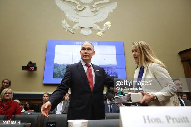 Environmental Protection Agency Administrator Scott Pruitt and EPA CFO Holly Greaves arrive before testifying to the House Energy and Commerce...