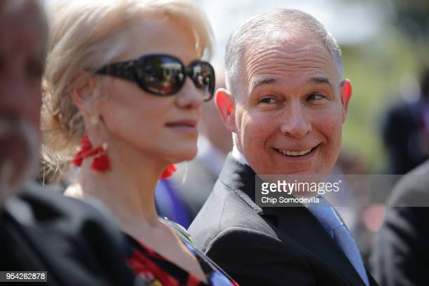 Environmental Protection Agency Administrator Scott Pruitt and Counselor to the President Kellyanne Conway attend an event to mark the National Day...