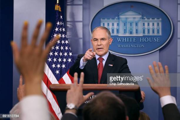Environmental Protection Agency Administrator Scott Pruitt answers reporters' questions during a briefing at the White House June 2 2017 in...
