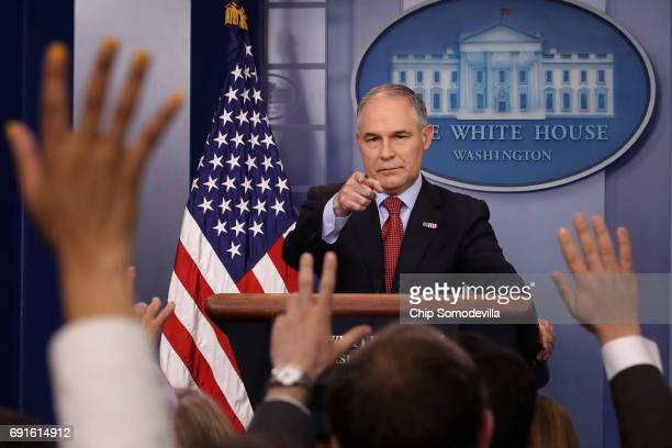 Environmental Protection Agency Administrator Scott Pruitt answers reporters' questions during a briefing at the White House June 2, 2017 in...