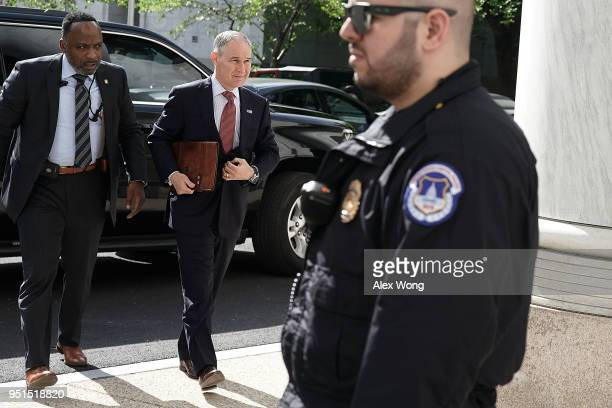 S Environmental Protection Agency Administrator Scott Pruitt arrives at Rayburn House Office Building to testify at a hearing before the Environment...