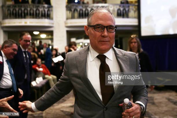 Environmental Protection Agency Administrator Scott Pruitt leaves after he spoke at an event November 17 2017 in Washington DC Pruitt addressed The...