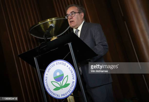 Environmental Protection Agency Administrator Scott Wheeler speaks before signing the Affordable Clean Energy final rule at a ceremony at EPA...