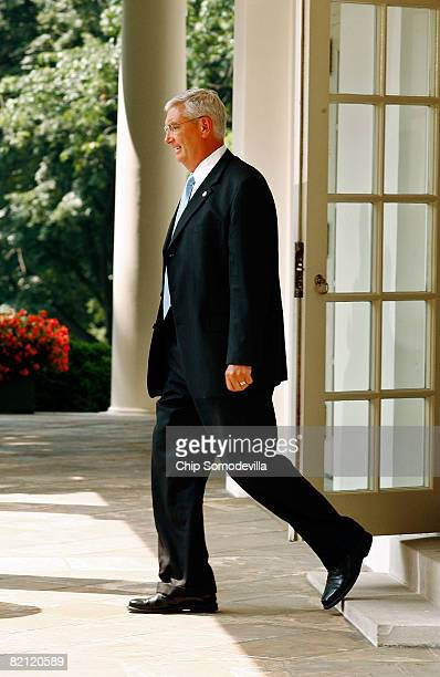Environmental Protection Agency Administrator Stephen Johnson walks out of the Cabinet Room to join US President George W Bush and other Cabinet...