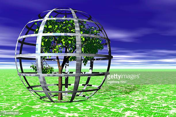 Environmental protection, tree protected by cage, plants grown in a protective cage, symbolic image, 3D graphics
