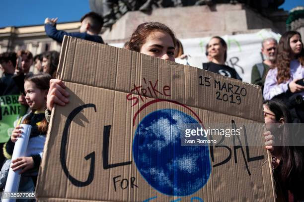 Environmentalist activists during the global strike for the climate proposed by the movement Fridays for Future on March 15 2019 in Naples Italy...