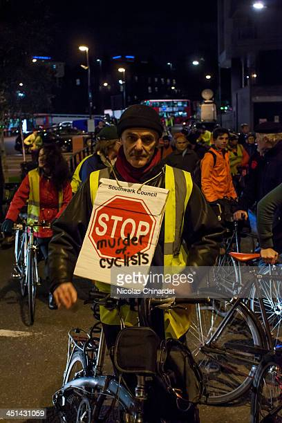 Environmentalist Donnachadh McCarthy at the vigil at Bow roundabout to protest 4 cyclists being killed in London within 8 days and the death of the...