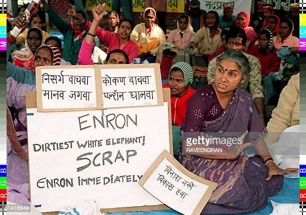 Environmentalist Medha Patkar protests against US firm Enron Power Corporation in New Delhi 17 February The 24 billiondollarpower project in Dabhol...