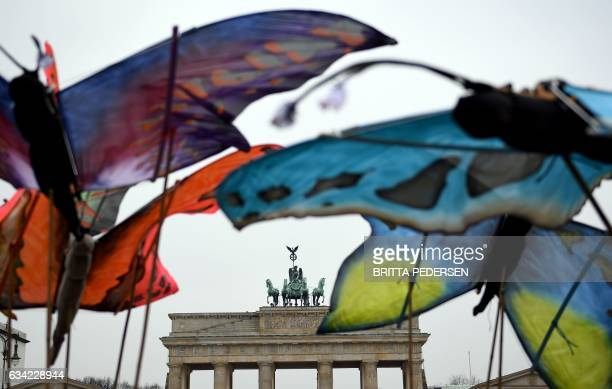 Environmentalists hold up giant butterfly mockups as they demonstrates against the use of glyphosate herbicides in agriculture on February 8 2017 in...