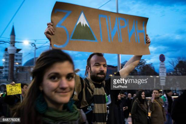 Environmentalists protest in Sofia, Bulgaria, on 6 March 2017 against the decision of interim Minister of Environment Irina Kostova to approve a new...