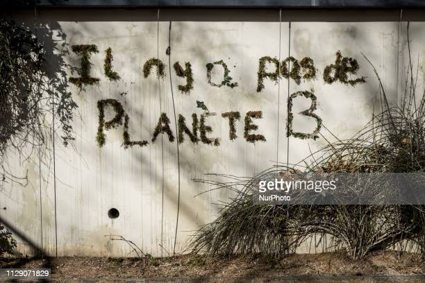 Environmentalists registered a plant moss graffiti saying quotThere is no planet Bquot in Lyon France on March 7 2019 Several graffiti were put on...