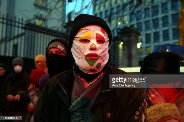 Environmentalists stage a protest against briefing meeting on World Economic Forum to be held in Brussels Belgium on January 27 2020