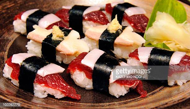 EnvironmentwhalingIWCJapan FOCUS by Kimiko de FreytasTamura A picture taken on June 16 2010 shows pieces of whale sushi made from sliced minke meats...