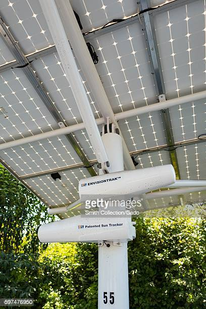 EnvisionTrak solar panel sun tracker from Envision Solar installed on a solar array at the Googleplex headquarters of the search engine company...