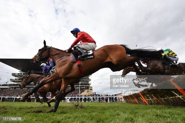 Envoi Allen ridden by Davy Russell on the way to winning the Ballymore Novices' Hurdle at Cheltenham Racecourse on March 11 2020 in Cheltenham England