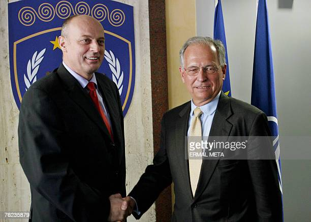 Envoy for Kosovo status talks Wolfgang Ischinger shakes hands with Kosovo Prime Minister Agim Ceku, 23 August 2007. Ischinger is on a two-day visit...