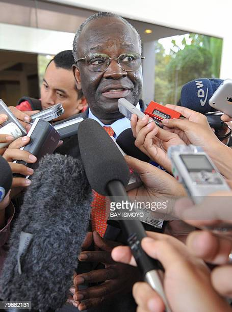 UN envoy for Myanmar Ibrahim Gambari speaks to members of the press after meeting Indonesian Foreign Minister Hassan Wirayuda in Jakarta on February...